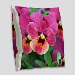 European Garden Pink Pansy Flower Burlap Throw Pil