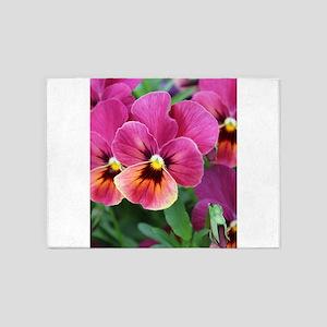 European Garden Pink Pansy Flower 5'x7'Area Rug