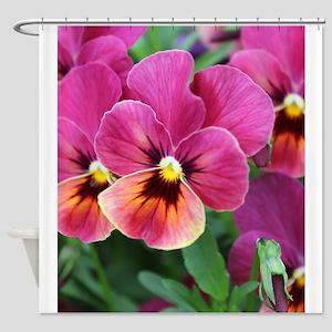 European Garden Pink Pansy Flower Shower Curtain