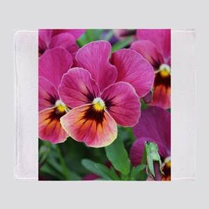 European Garden Pink Pansy Flower Throw Blanket