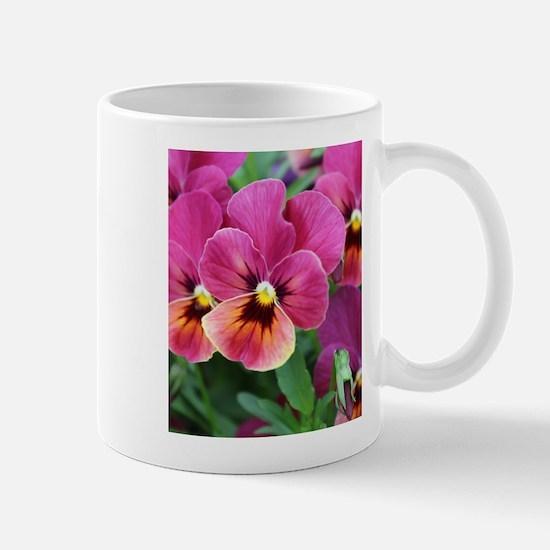 European Garden Pink Pansy Flower Mugs