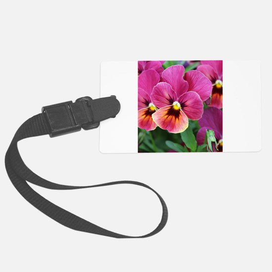 European Garden Pink Pansy Flower Luggage Tag