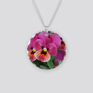 European Garden Pink Pansy Flower Necklace