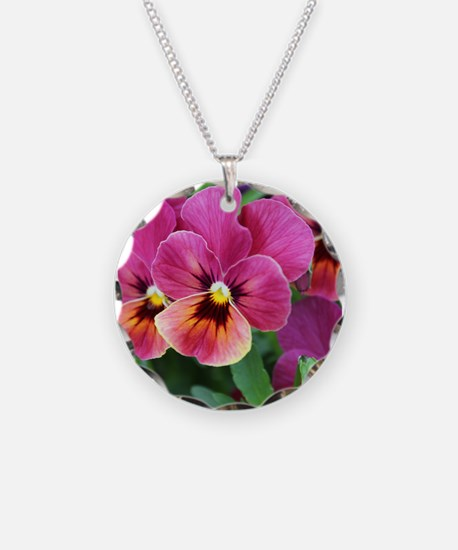 European Garden Pink Pansy Flower Necklace