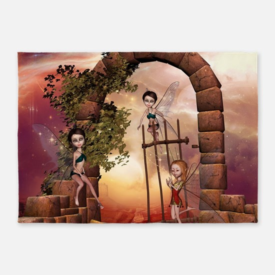 Cute playing fairys in the sunset 5'x7'Area Rug