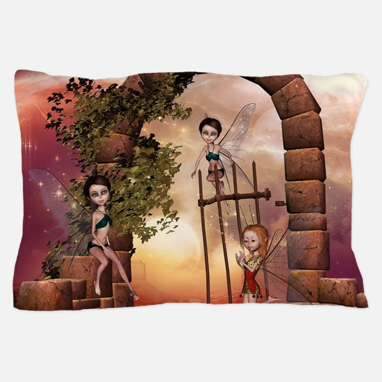 Cute playing fairys in the sunset Pillow Case