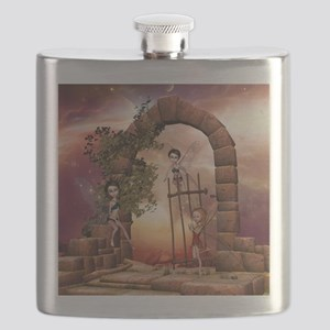 Cute playing fairys in the sunset Flask