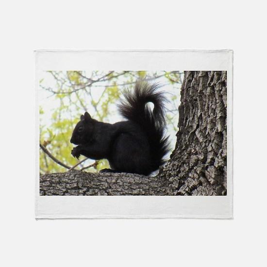 Curious Squirrel Throw Blanket