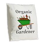 Organic Gardener Burlap Throw Pillow