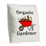 Organic Gardener Burlap Throw Pillow