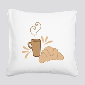 Coffee and croissant Square Canvas Pillow