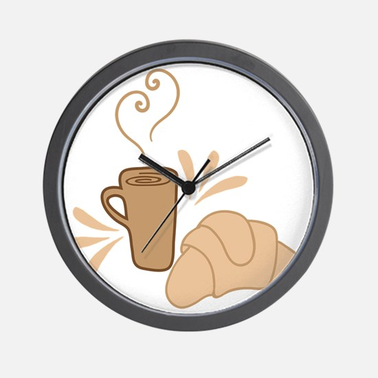 Coffee and croissant Wall Clock