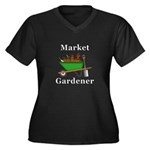 Market Garde Women's Plus Size V-Neck Dark T-Shirt