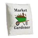 Market Gardener Burlap Throw Pillow