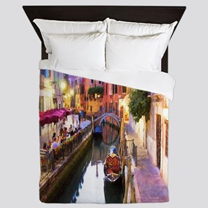 Romantic Canal In Venice Italy Queen Duvet