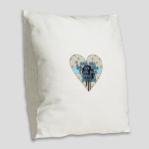 Love you more Burlap Throw Pillow