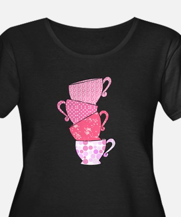 Pink Pattern Stacked Tea Cups Plus Size T-Shirt