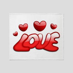 Love Hearts Valentines Day Romantic Throw Blanket