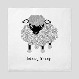 Black Sheep with label Queen Duvet