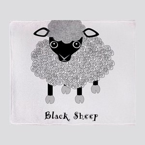 Black Sheep with label Throw Blanket