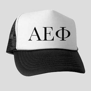 Alpha Epsilon Phi Letters Black Trucker Hat