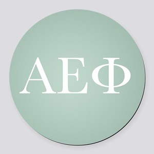 Alpha Epsilon Phi Letters White Round Car Magnet