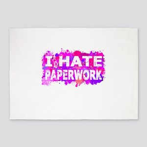 I Hate Paperwork (Ink Spots) (Pink) 5'x7'Area Rug