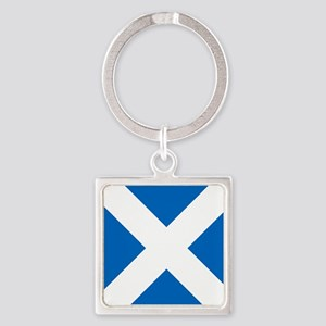 Scotland: Scottish Flag (Saltire) Square Keychain