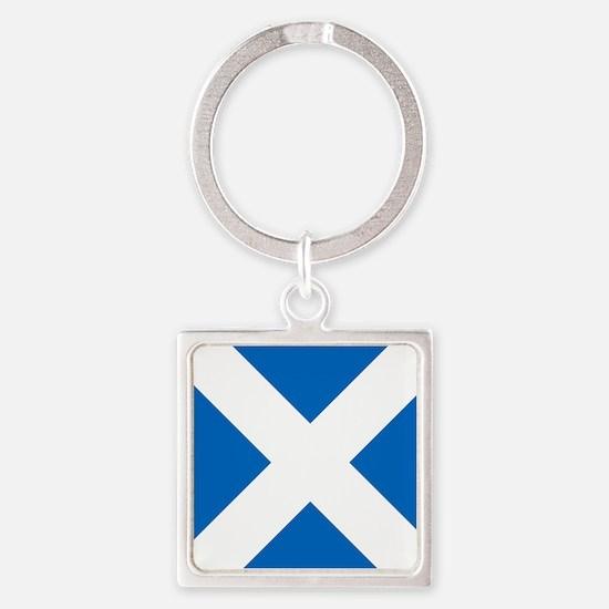 Scotland: Scottish Flag (Saltire) Square Keychain
