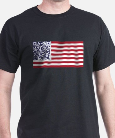 American Flag National Anthem QR Code T-Shirt