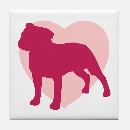 Staffordshire Bull Terrier Valentine's Day Tile Co