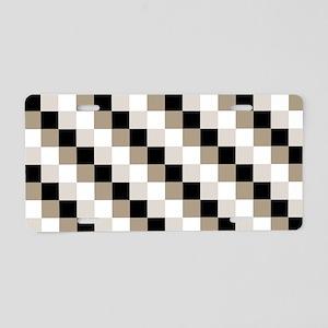 Beige Checks Design Aluminum License Plate