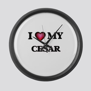 I love Cesar Large Wall Clock