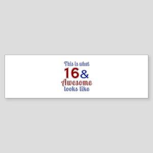 16 Awesome Birthday Designs Sticker (Bumper)