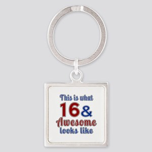 16 Awesome Birthday Designs Square Keychain