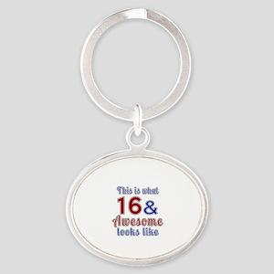 16 Awesome Birthday Designs Oval Keychain