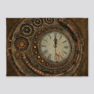 Steampunk, awesome clock 5'x7'Area Rug