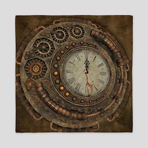 Steampunk, awesome clock Queen Duvet