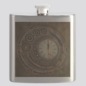 Steampunk, awesome clock Flask
