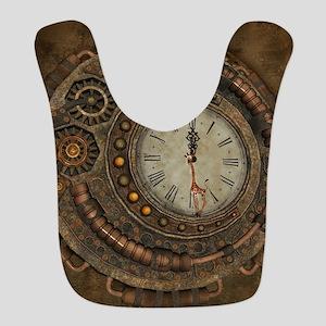 Steampunk, awesome clock Polyester Baby Bib