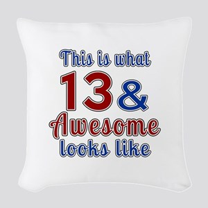13 Awesome Birthday Designs Woven Throw Pillow