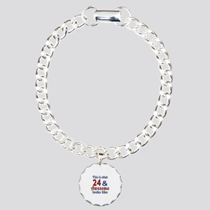 24 Awesome Birthday Desi Charm Bracelet, One Charm
