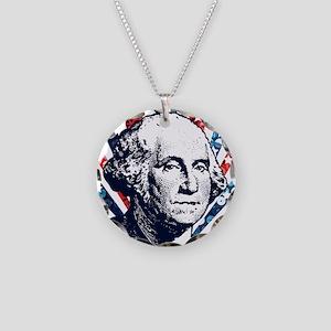 sequin george washington Necklace Circle Charm
