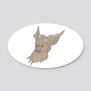Norse God Odin Head Drawing Oval Car Magnet