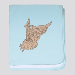 Norse God Odin Head Drawing baby blanket