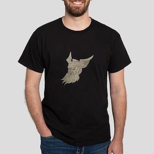 Norse God Odin Head Drawing T-Shirt