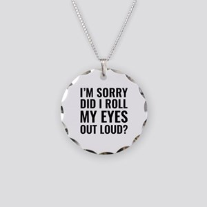 Roll My Eyes Necklace Circle Charm