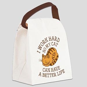 I Work Hard Canvas Lunch Bag