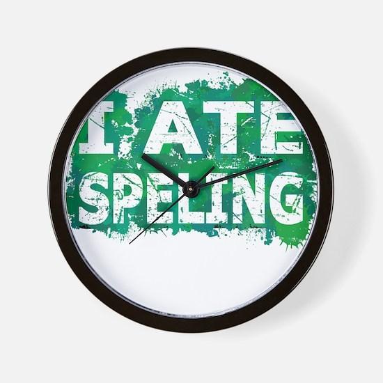 I Ate Speling (Ink Spots) (Green) Wall Clock