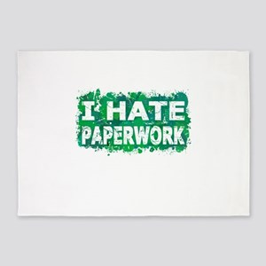 I Hate Paperwork (Ink Spots) (Green 5'x7'Area Rug